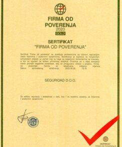 Seguridad doo Beograd firma od poverenja 2020 Gold